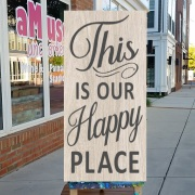 this is our happy place wooden sign | diy signs for porch, signs for pool, signs for deck, signs for patio