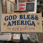 patriotic wood sign | god bless america wooden sign | diy experience mechanicsburg