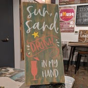 beach wood sign | sun sand drink in my hand rustic wood sign | fun things to do hershey pa