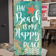 beach sign decor | the beach is my happy place wood sign